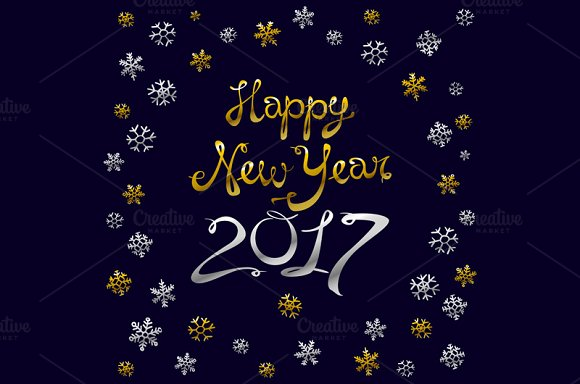 Happy new year card. Gold - Graphics