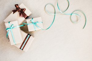 Gift boxes wrapped in kraft paper