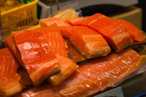Pieces of red salmon fish