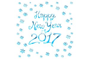 Happy New Year 2017 vector blue