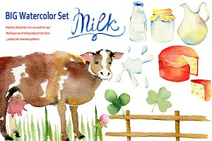 Farm. Cow & milk. Big Watercolor Set