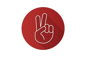 Peace hand gesture icon. Vector