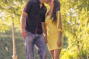 Young couple 20s sunny day outdoors