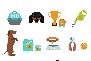 Dachshund dog playing vector set