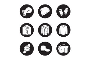 Men's clothes. 9 icons. Vector