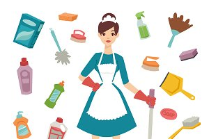 Housewife girl cleaning equipment