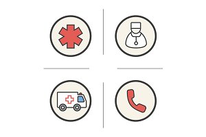 Ambulance. 4 icons set. Vector