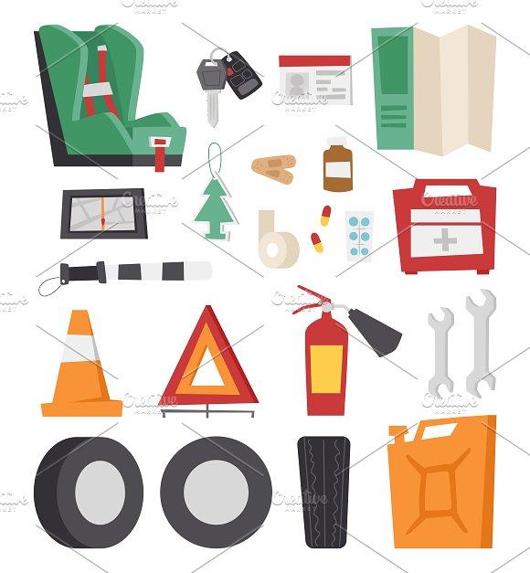 Various car parts sign vector