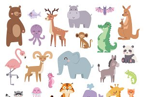 Cartoon animals character vector