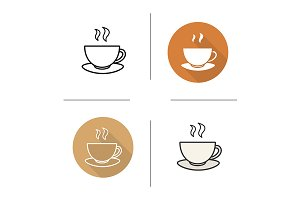 Teacup on plate. 4 icons. Vector