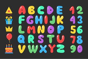 Happy birthday cartoon alphabet set