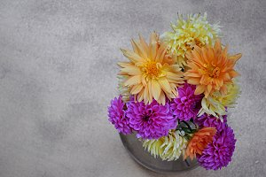 vase with dahlias, overhead view