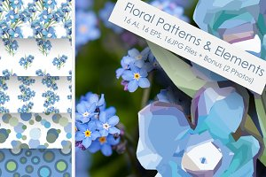 Forget Me Not Flowers  Set