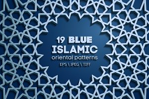 19 BLUE SEAMLESS ORIENTAL PATTERNS
