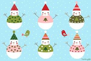 Cute snowman characters clip art