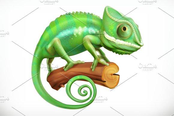 Chameleon. 3d vector icon - Illustrations