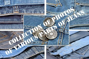 Photos of various parts of jeans