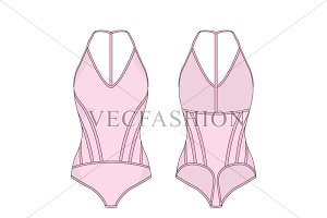 WOMEN SPORT BODYSUIT VECTOR TEMPLATE