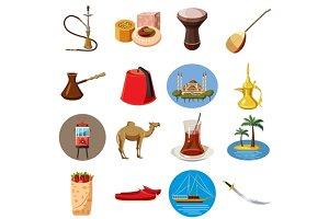 Turkey travel icons set