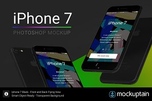 Iphone 7 Mockup Flying Black