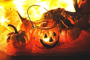 Halloween pumpkin with decoration #7