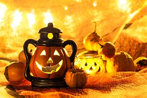 Halloween pumpkin with decoration #9