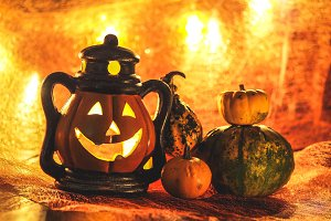 Halloween pumpkin with decoration #1