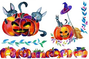 watercolor halloween!SALE