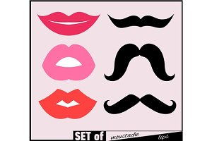 Set of lips and mustaches.