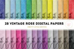 Vintage Rose Digital Paper Pack