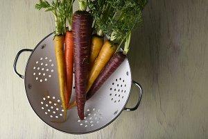 Organic Carrots in Colander