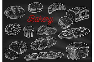 Bakery products chalk sketches