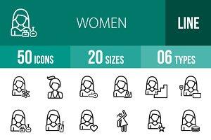 50 Women Line Icons