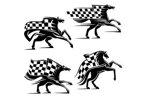 Racing horses with checkered flag