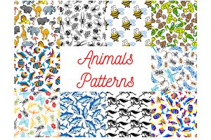 Animals samless patterns