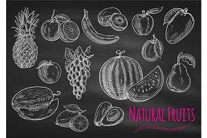 Fruits chalk sketch on blackboard