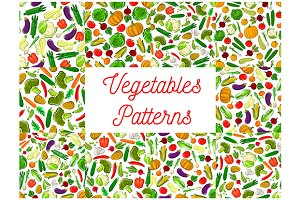 Vegetables seamless backgrounds