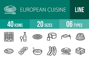 40 European Cuisine Line Icons
