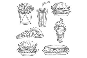 Fast food pencil sketches