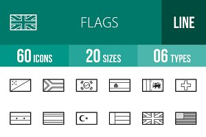 60 Flags Line Icons