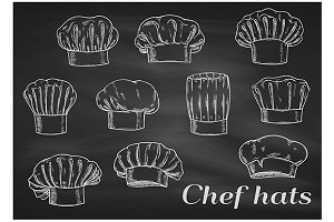 Chef toques, hats. Chalk sketch