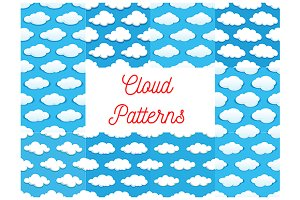 Cartoon pattern clouds in blue sky