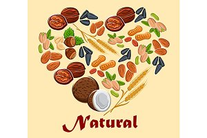 Natural nuts and cereals