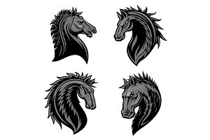 Heraldic icons of furious horses