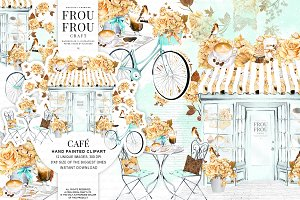 Watercolor Coffee Paris Cafe Clipart