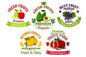 Fresh fruits icons and emblems