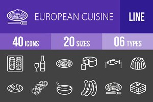 40 Cuisine Line Inverted Icons