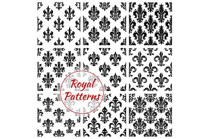 Royal french lily seamless patterns