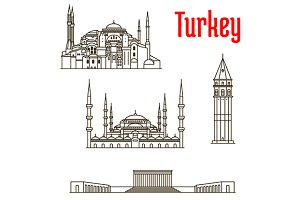 Turkey landmarks thin line icons