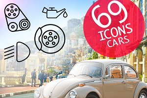 69 Cars icons set